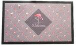 Deurmat met flamingo's met tekst - Grijs / Roze - 75 x 45 cm - Schoonloopmat
