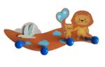 Kapstok kinderkamer Leeuwen - Bruin / Blauw - Hout - 4 haken - 28 x 7 x 10.5 cm
