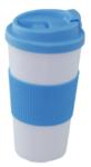 Reisbeker KATJA - Wit / Blauw - Ø9 x H18 cm