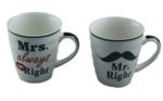 Mr Right & Mrs Always Right Beker/mokkenset - set van 2 - Giftset