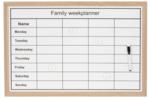 Red Hart - Family Weekplanner Memobord incl. Magneet & Marker - Whiteboard - Week Planner - Weken - Magneet bord - Schrijfb