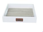 Red Hart - Decoratie tray/dienblad met lederen label (HOME) - Wit - 24x24x4.5cm