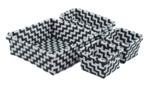 Gevlochten opbergmandjes - set van 4 - Zwart / Wit - mandjes - opbergbakjes