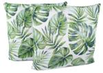 Sierkussenhoes met blad motief - Set van 2 - Groen / Wit - 45x45cm