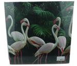 Flamingo glitter schilderij - Canvas - 38x38cm