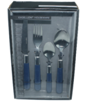 12 delig bestekset - 3 personen - Blauw/Zilver - Excellent Houseware - bestek - mes - vork - lepel