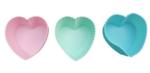 Siliconen Muffin & Cupcake bakvormpjes - set van 12 hartvormpjes - Groen/Roze/Blauw