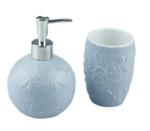 Tandenborstelhouder en zeepdispenser Jozua - Blauw - Keramiek - bloemenmotief