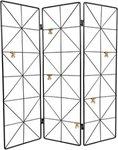 Raamscherm MAYKE - Zwart - Metaal - Drieluik - 53,5 x 58,3 cm