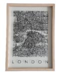 Wandlijst / schilderij - Plattegrond London - Transparant / Zwart - Glas - 24 x 33 x 1 cm