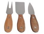 Kaasmessen set - 3 delig - Bruin - Hout / Staal