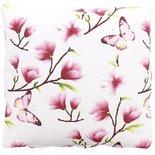 Sierkussenhoes met voorjaarsmotief JOHANNA - Wit / Roze - 40 x 40 cm
