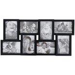 Fotolijst voor 8 foto's IVAN - Zwart - MDF - 58,5 x 28,5 x 3 cm