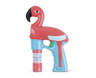 Flamingo bellenblaas pistool - Roze / Blauw - Kunststof - 14 x 4.5 x 23 cm