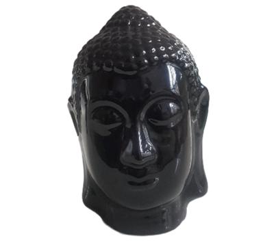 Beeld boeddha hoofd VINCE - Zwart - 16 cm