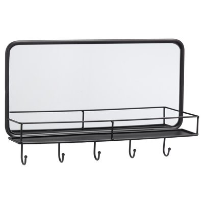 Halspiegel STERRE - Zwart - Plankje en 5 haakjes - 50 x 31.5 x 10.5 cm