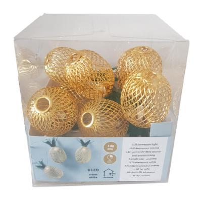 Decoratieve ananas lichtslinger - Goud / Groen - 8 led lampen