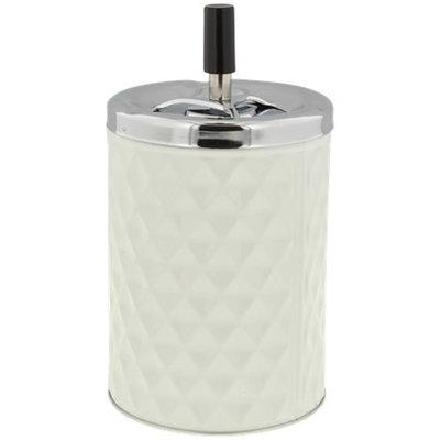 Asbak met drukknop RICCO - Wit / Zilver -  Ø 11 x 19.5 cm