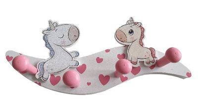 Kapstok kinderkamer Unicorn - Wit / Roze - Hout - 4 haken - 28 x 7 x 10.5 cm