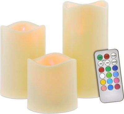 LED kaarsen met afstandbediening JAIMY - Creme - set van 3 - 10 / 12.5 / 15 cm