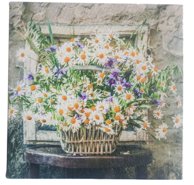 Print op canvas bloemen - Multicolor - Canvas - 18 x 18 cm