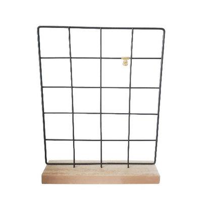 Memo rek op standaard BELLE - Zwart / Bruin - Metaal / Hout - 31 x 40.5 cm