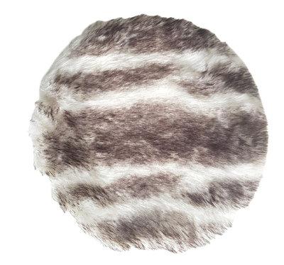 Bontkleedje TINE - imitatie bont - Wit / Zwart - Ø 35 cm