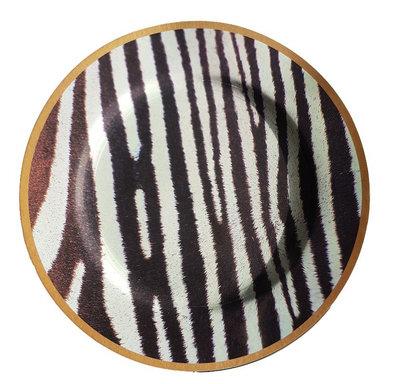 Decoratie bord met zebra motief BEAU - Wit / Zwart - Kunststof - Ø 33 cm