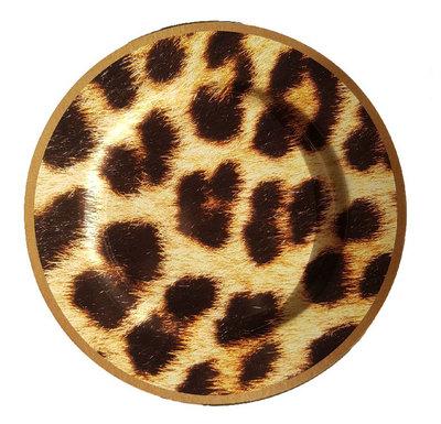 Decoratie bord met luipaard motief BEAU - Bruin / Zwart - Kunststof - Ø 33 cm