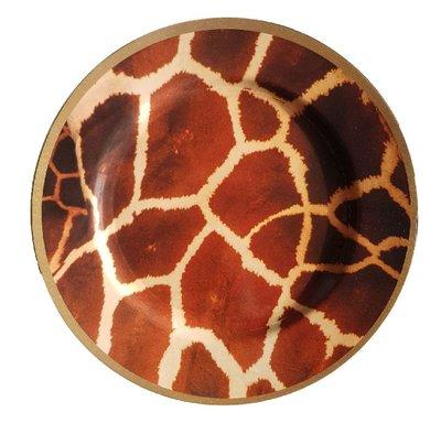 Decoratie bord met giraffe motief BEAU - Bruin / Geel - Kunststof - Ø 33 cm