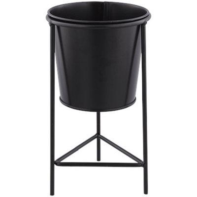 Bloempot op standaard HEDWIG - Zwart - Metaal - Ø 11 x h 20 cm