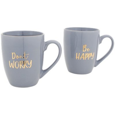 Don't Worry Be Happy Beker / mokkenset - Grijs / Goud - set van 2 - Giftset