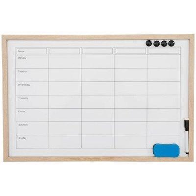 Memobord/Whiteboard MAREK - Weekplanner - Bruin - 60 x 40 cm