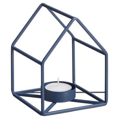 Theelichthouder CEES - Blauw - Metaal - 11 x 11 x 13 cm
