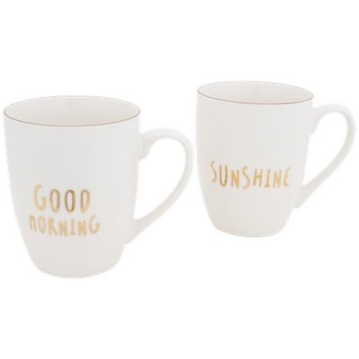 Goodmorning Sunshine Beker / mokkenset - Wit / Goud - set van 2 - Giftset