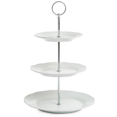 Excellent Houseware 3 Laags Etagere DIANA - Wit - Porselein - Ø 15/18/22,5 x h 34 cm