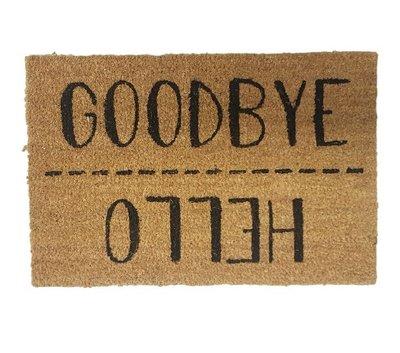 Deurmat met tekst MARGOT - ' Hello / Goodbye ' - Kokosmat - 60 x 40 cm