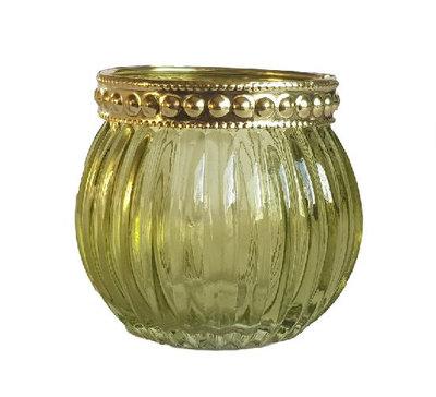 Theelichthouder LOIS - Set van 2 - Groen / Goud - Glas / Kunststof - Ø 6.5 x h 5.5 cm