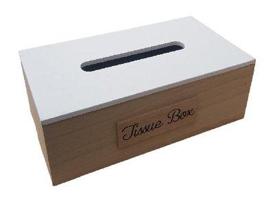 Tissuebox / Tissuehouder KELVIN - Wit / Bruin - Hout - 25 x 14 x 9 cm