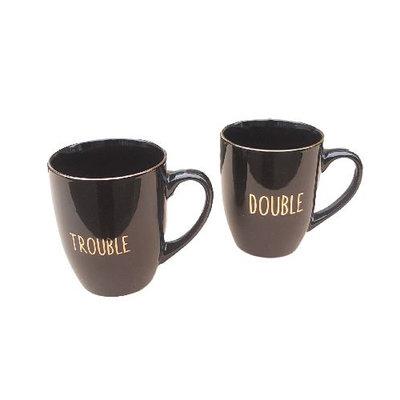 Double Trouble Beker / mokkenset - Zwart / Goud - set van 2 - Giftset
