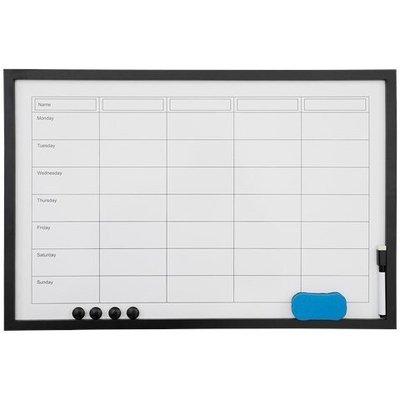 Memobord/Whiteboard MAREK - Weekplanner - Zwart - 60 x 40 cm