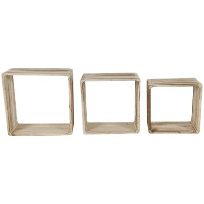 Wandboxen IRENE - Bruin - Hout - Set van 3 - Vierkant