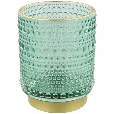 Theelichthouder SELINA - Groen / Goud - Glas - Ø 7 x h 9.5 cm