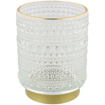 Theelichthouder SELINA - Wit / Goud - Glas - Ø 7 x h 9.5 cm