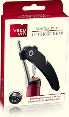 Vacu Vin Single Pull Kurkentrekker - Zwart - RVS / Kunststof