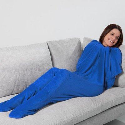 JML Footsie Blanket - Blauw - fleece deken, deken met voetzakken - booties