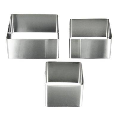 Metaltex vierkante kookringen - Zilver - 6/8/10 cm - RVS - Set van 3