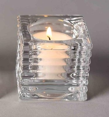 Geribbeld glazen theelichthouder KRISTIAN - Transparant - 6 x 6 x 6 cm - Vierkant
