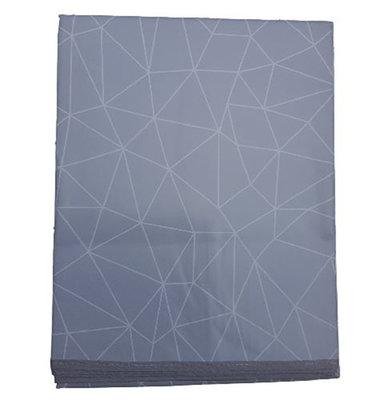 PVC Tafelkleed KEANU - Grijs / Wit - Vinyl - 140 x 240 cm - Rechthoek - Hoog kwaliteit