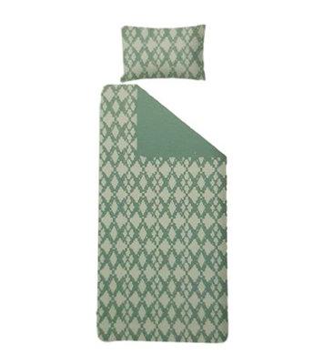 Dekbedovertrek STELLA - Groen / Wit - Eenpersoons - 140 x 200 cm + 1 kussensloop 60 x 70 cm